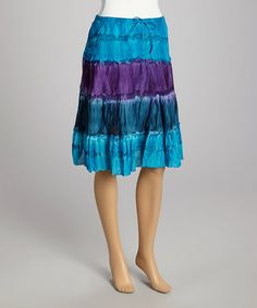 Another great find on #zulily! Turquoise Tiered Tie-Dye Maxi Skirt by Fashion Fuse #zulilyfinds