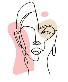 Abstract Face Art, Abstract Lines, Face Line Drawing, Photo Deco, Outline Art, Diy Canvas Art, Simple Art, Minimalist Art, Art Drawings