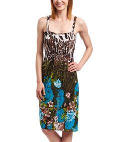 Look what I found on #zulily! Blue & Brown Jungle Square Neck Dress - Women & Plus #zulilyfinds