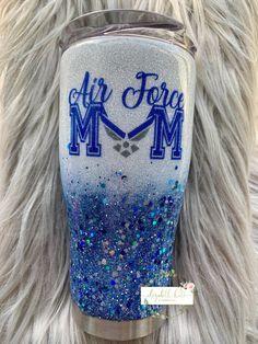 Custom Personalized United States Air Force USAF Mom Glitter tumbler cup - 30 oz modern curve Source by font Air Force Gifts, Air Force Mom, Mom Tumbler, Tumbler Cups, Vinyl Tumblers, Custom Tumblers, Glitter Cups, Glitter Tumblers, Air Force Tattoo