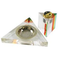 Mid-Century Modern Pierre Cardin Lucite Ashtray and Lighter Desk Set