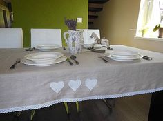 Linen tablecloth with linen hearts www.sashe.sk/shabby.romantic  Ľanový obrus - srdiečkový