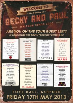 concert tour wedding poster | concert guest list wedding seating plan