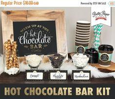 FLASH SALE Hot Chocolate Bar Printable Kit by ThePrettyPaperStudio