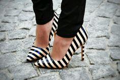 Striped heels.  Looks like Kate Spade.
