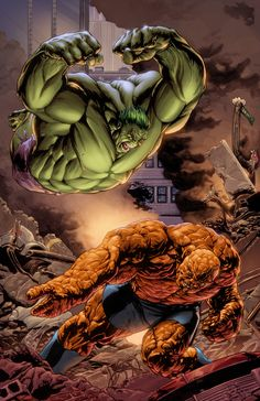 Hulk vs Thing by splicer Hulk Marvel, Marvel Heroes, Avengers, Comic Book Characters, Comic Book Heroes, Marvel Characters, Comic Character, Comics Anime, Marvel Comics Art