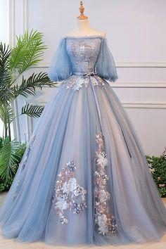 Grey Evening Dresses, Ball Gowns Evening, Ball Gowns Prom, Ball Gown Dresses, Blue Ball Gowns, Dresses For Balls, Tulle Ball Gown, Blue Gown Dress, Gray Gown
