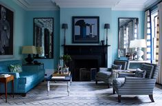Doing a make over to my living room, and this style is definitely in the makes. Living Room Turquoise, Teal Living Rooms, Blue Rooms, My Living Room, Living Room Designs, Living Room Decor, Turquoise Walls, Decor Room, Blue Walls