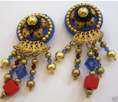 Vintage Egyptian Revival Cobalt Blue & Red Chandelier Earrings
