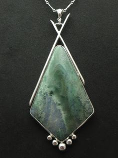 """Kate"" - Sterling & Fine Silver with Green Moss Agate"