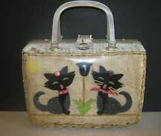 Vintage Lucite Wicker Cats Handbag by Adele, Miami, Fla. 1960'S