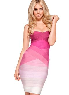 'Stacie' Pink Gradient Strapless Bandage Dress.