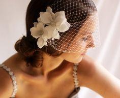 "Birdcage Veil with Flowers 9"" - Bandeau Birdcage Veil - Wedding Mini Veil - Magnolia Flower - Wedding Hair Accessories"