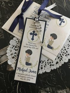 Boy's First Communion Favor Baptism Bookmark Prayer