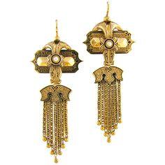 Gold, enamel and tassel earrings 1875