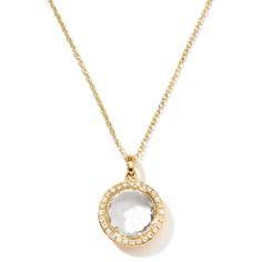 IPPOLITA LOLLIPOP® MEDIUM PENDANT NECKLACE IN 18K GOLD WITH DIAMONDS (COLOR: CLEAR QUARTZ) BY IPPOLITA. #ippolita #