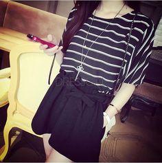 Korean Style Fashion Women High Waist Elastic Loose Pants Shorts White Belt  $3.64