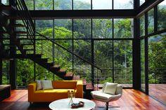 Stairs, Yellow Sofa, Living Space, Glass Walls, Modern Hillside Home in Janda Baik, Malaysia