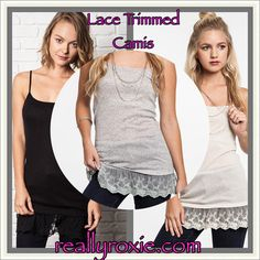 Lace Trimmed Cami! 3 color choices! Perfect under tunics or paired with cardigans!  reallyroxie.com