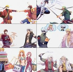 One piece Naruto onepiece onepiece onepieceworld Anime Naruto, Otaku Anime, Anime One, Anime Manga, Funny Anime Couples, Anime Couples Manga, Anime Crossover, One Piece Crossover, One Piece Manga