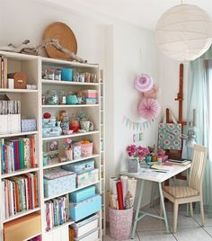 Pastel perfection | Super storage in those BILLY bookcases | Silvia's office, Italy Sewing Spaces, Sewing Rooms, Ikea Ideas, Decor Ideas, Craft Studios, Billy Bookcases, Ikea Billy, Ikea Furniture, Workspaces
