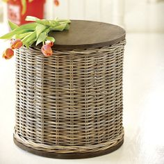 I wonder if we could make something like this by creating a wood top for a large basket?