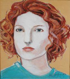 Portrait, Kate, original acrylic on linen 25cm x 22.5cm