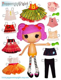 "We love Lalaloopsy Dolls and they inspired us to make a new fashion line for them! Check out all of our Lalaloopsy handmade clothing at our Etsy site called ""PeppermintPiglet"" Paper Toys, Paper Crafts, Bug Crafts, Diy Kawaii, Lalaloopsy Party, Paper Dolls Printable, Operation Christmas Child, Vintage Paper Dolls, Kids Christmas"