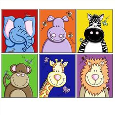 ZOOfari - Set of 6 Jungle Animals - Canvas Prints - Click Image to Close