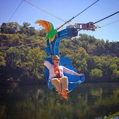 Parakeet Pete's Waterfront Zipline over Lake Taneycomo at Branson Landing  Not sure what to give a loved one on their birthday? Give them a memory they will never forget! Keep calm and zip on! +Parakeet Pete  Posted by BransonVacationRentalCabins.com  #bransonmissouri  #zipline #parakeetpete