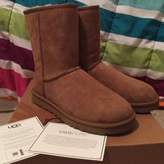 Brand New Chestnut Uggs! Never worn! With original box!                                        Color: Chestnut                                                               Size: 9                                                                           Lowest Price! UGG Shoes