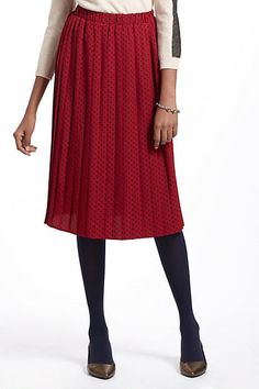 Pleated Polka-Dotted Skirt - L