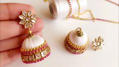 How to make beautiful silk thread jhumkas||silk thread elegant white jhu...