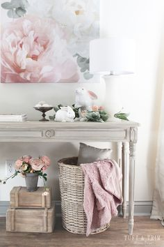 Blush Pink Spring Decor Inspiration – Tuft & Trim – Famous Last Words French Country Rug, French Country Decorating, Home Living Room, Living Room Decor, Bedroom Decor, Apartment Decoration, Deco Rose, Pink Home Decor, Spring Home