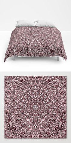 Pink Plant Mandala Comforter by David Zydd Cosy Bedroom, Scandinavian Bedroom, Bedroom Decor, Wall Decor, Mandala Comforter, Mandala Duvet Cover, Luxury Homes Interior, Luxury Home Decor, Cheap Dorm Decor
