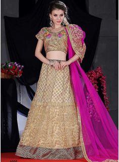 Charming Cream And Pink Embroidery Zari Work Fancy Lehenga Choli - See more at: http://www.angelnx.com/Lehenga-Choli
