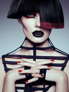 Model Gintare goes gothic glam with a choppy bob and bold eyeshadow. exclusive FGR beauty story