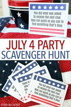 Entertain the kids at your July 4 party with this fun scavenger hunt! Includes printable clues and instructions so it's super easy to create this easy July 4 activity for kids. Perfect for getting kids moving before the fireworks start. 4th Of July Celebration, 4th Of July Party, July 4th, Patriotic Party, Patriotic Crafts, Summer Activities For Kids, Camping Activities, Primary Activities, Toddler Activities