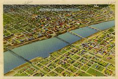Aerial view of Little Rock from a Souvenir of Little Rock postcard packet, Arkansas  Arkansas State Archives G4832.1