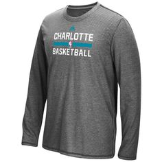 Charlotte Hornets adidas 2016 On-Court climacool Aeroknit Long Sleeve T-Shirt - Charcoal - $33.99