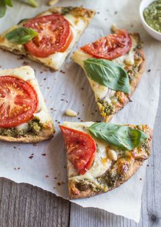 Vegetarian Carrot Top Pesto Pizza -  made for weeknights...ready in 30 minutes and are the perfect make-ahead meal .