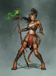This is Kaiyonani, a concept character we worked on with Paul Davies. She's a kaja, a race of anthropomorphic cat people.<<< she is beautiful High Fantasy, Fantasy Races, Fantasy Rpg, Fantasy Girl, Fantasy Artwork, Dungeons And Dragons Characters, Dnd Characters, Fantasy Characters, Fantasy Creatures