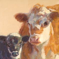 "Amelia and her Calf oil painting  6"" x 6"" www.nancybassartist.com"