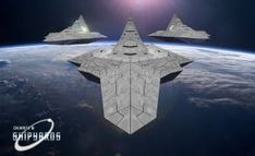 This is a two-kilometer long spacecraft carrier, designed by William Tompkins in the Solar Warden Ship Futuristic Armour, Futuristic Cars, Futuristic Vehicles, Star Wars Spaceships, Sci Fi Spaceships, Concept Ships, Concept Art, Mexico 2018, Secret Space Program