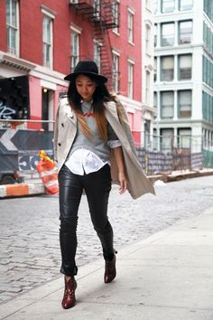leather trousers with trench coat
