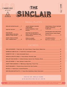 Best of Art of the Menu - The Sinclair, American in Boston, MA Restaurant Identity, Restaurant Menu Design, Packaging Design, Branding Design, Bakery Packaging, Identity Branding, Mexican Restaurant Decor, Menu Layout, Stationary Design