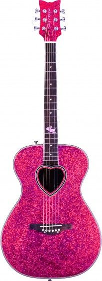 """The Pixie Cupid Acoustic guitar is a full scale instrument designed especially for girls. This dazzling sparkle-finished guitar is lightweight and it sounds great! It features Daisy Rock's trademark """"Slim & Narrow"""" neck which makes it easier for girls with smaller hands to play. Its durable composite oval back and spruce top produce a rich tone, and its slightly smaller sized body fits girls just right, making it extremely comfortable to play!"""