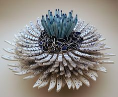 Gorgeous Flowers Sculptures Created With Thousands of Blue and White Porcelain Shards