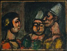 georges rouault(1871-1958), dancer with two clowns, 1929. oil on canvas, 29.2 x 38.1 cm.  the metropolitan museum of art, new york, usa  http://metmuseum.org/collections/search-the-collections/210006551