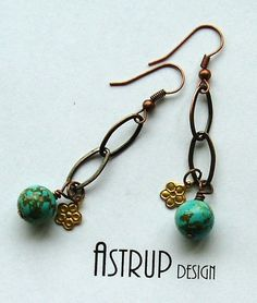 Turquise flowers and chain lovely earrrings by lisaastrup on Etsy, $15.00